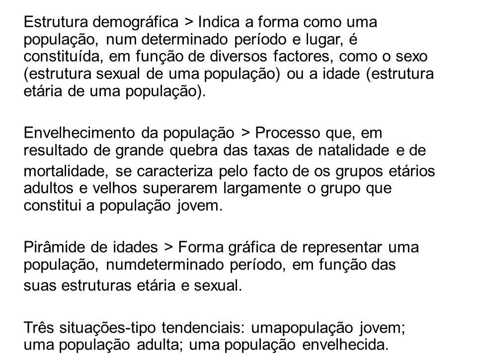 Estrutura demográfica > Indica a forma como uma população, num determinado período e lugar, é constituída, em função de diversos factores, como o sexo (estrutura sexual de uma população) ou a idade (estrutura etária de uma população).