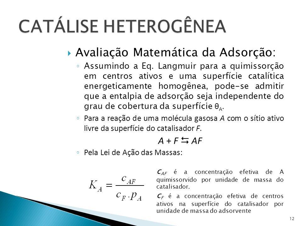 CATÁLISE HETEROGÊNEA Avaliação Matemática da Adsorção: A + F  AF