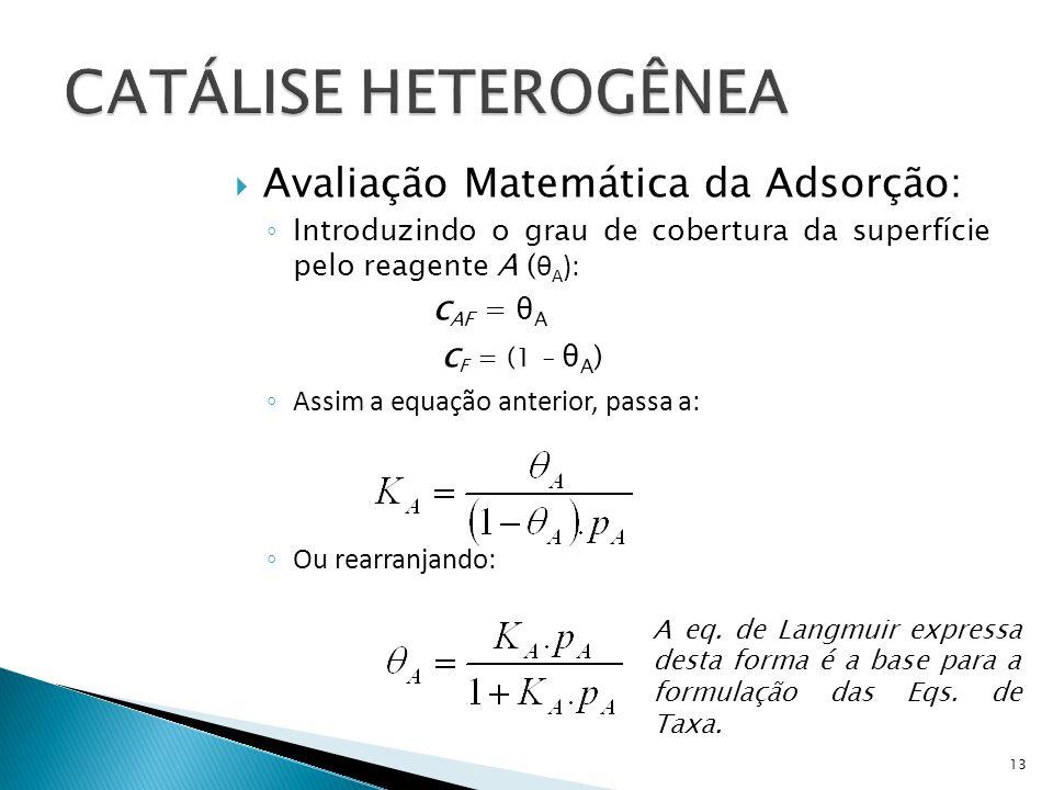 CATÁLISE HETEROGÊNEA Avaliação Matemática da Adsorção: cAF = θA
