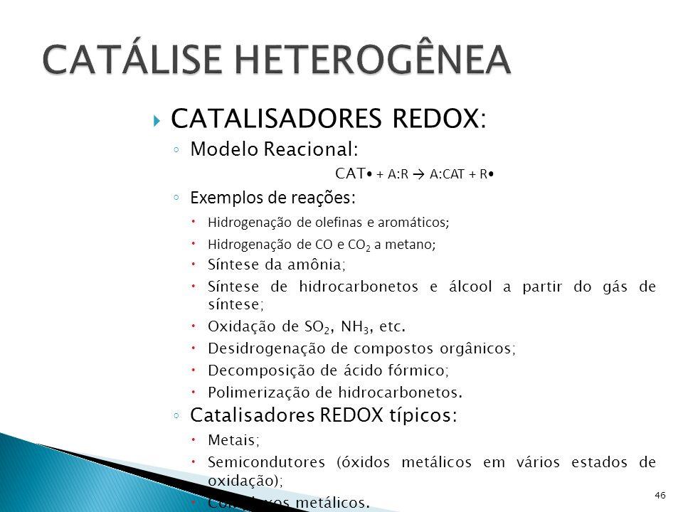 CATÁLISE HETEROGÊNEA CATALISADORES REDOX: Modelo Reacional: