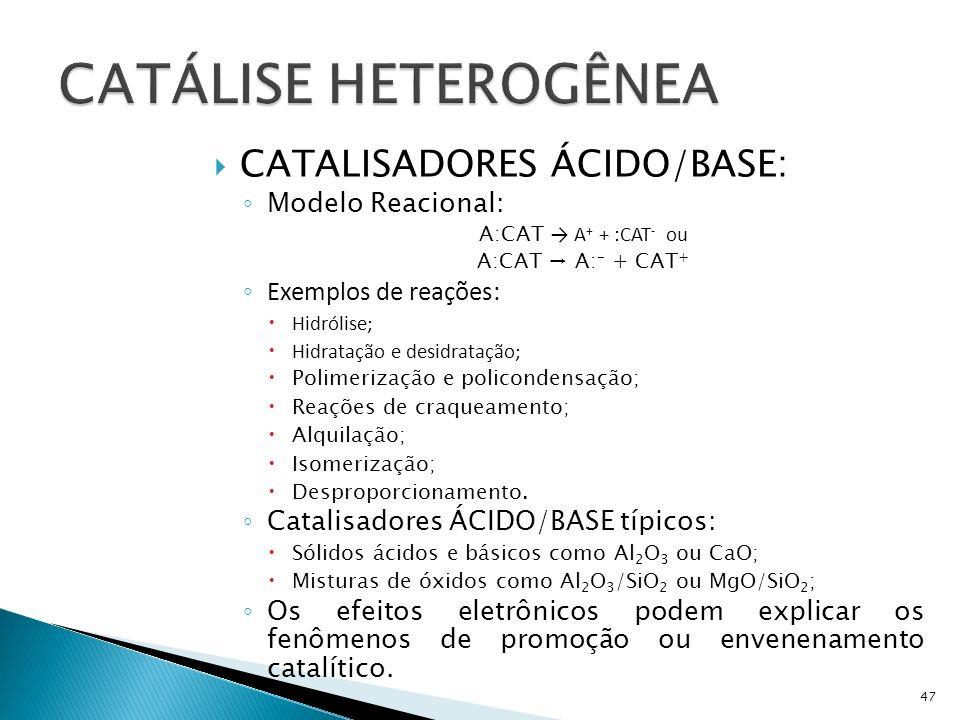 CATÁLISE HETEROGÊNEA CATALISADORES ÁCIDO/BASE: Modelo Reacional: