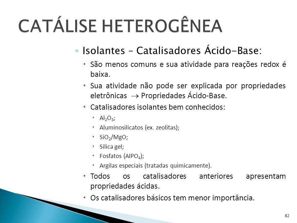 CATÁLISE HETEROGÊNEA Isolantes – Catalisadores Ácido-Base: