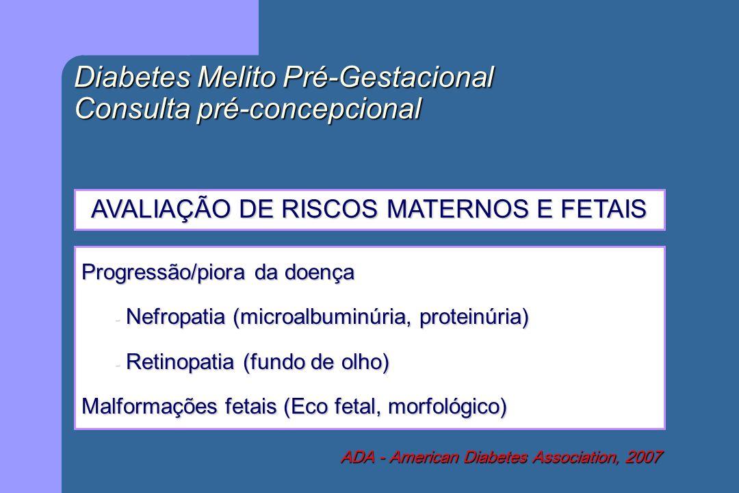 Diabetes Melito Pré-Gestacional Consulta pré-concepcional