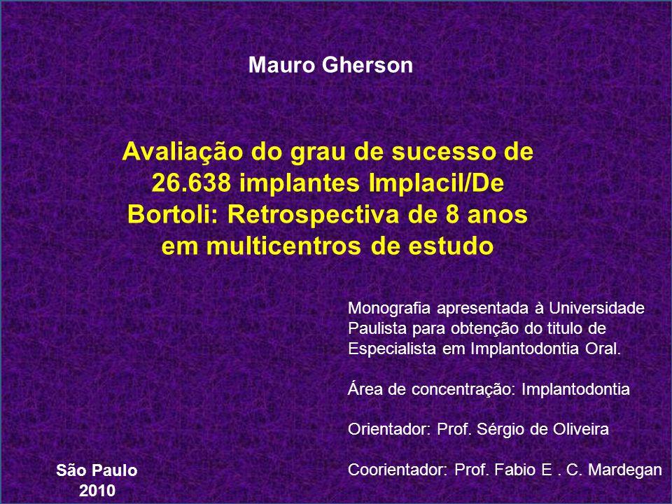 Mauro Gherson Avaliação do grau de sucesso de 26.638 implantes Implacil/De Bortoli: Retrospectiva de 8 anos em multicentros de estudo.