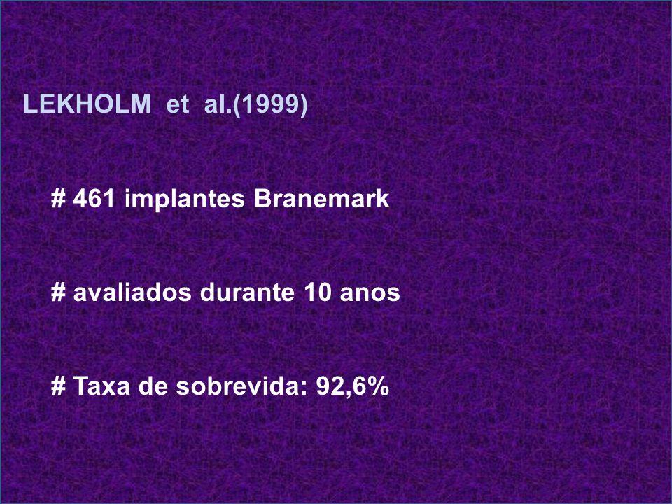 LEKHOLM et al.(1999) # 461 implantes Branemark. # avaliados durante 10 anos.