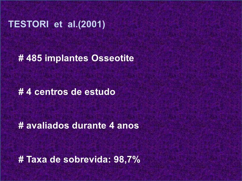 TESTORI et al.(2001) # 485 implantes Osseotite. # 4 centros de estudo. # avaliados durante 4 anos.