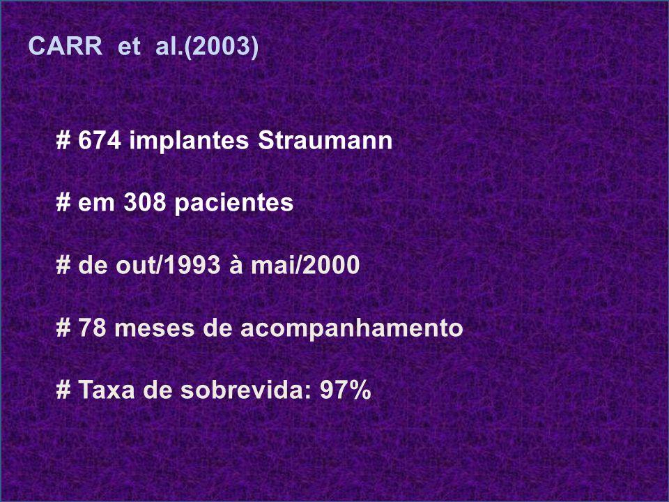 CARR et al.(2003) # 674 implantes Straumann. # em 308 pacientes. # de out/1993 à mai/2000. # 78 meses de acompanhamento.