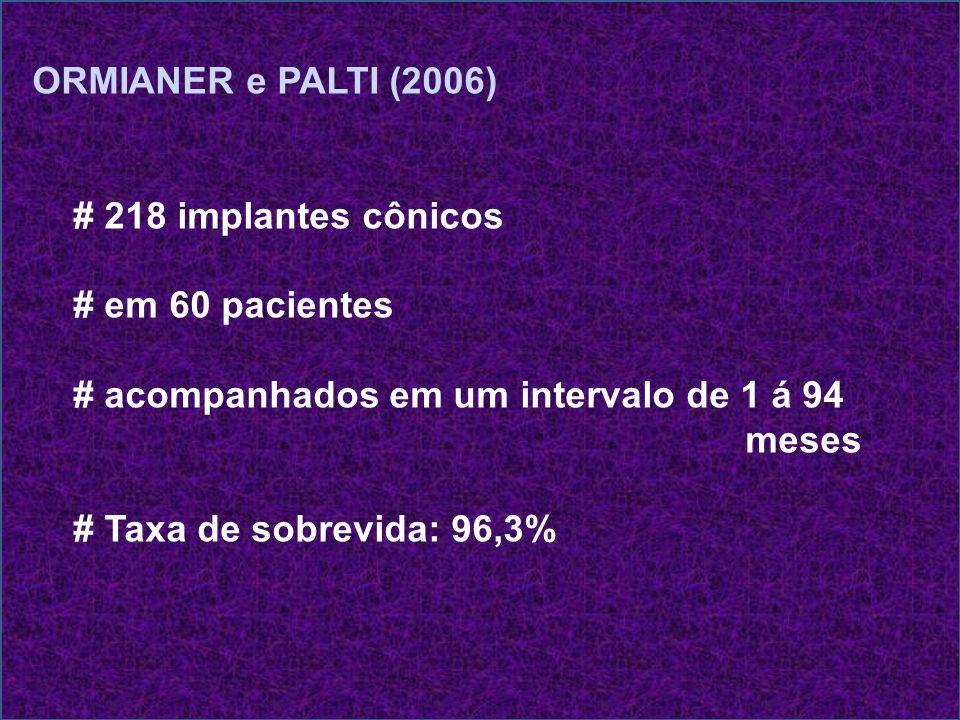 ORMIANER e PALTI (2006) # 218 implantes cônicos. # em 60 pacientes. # acompanhados em um intervalo de 1 á 94.