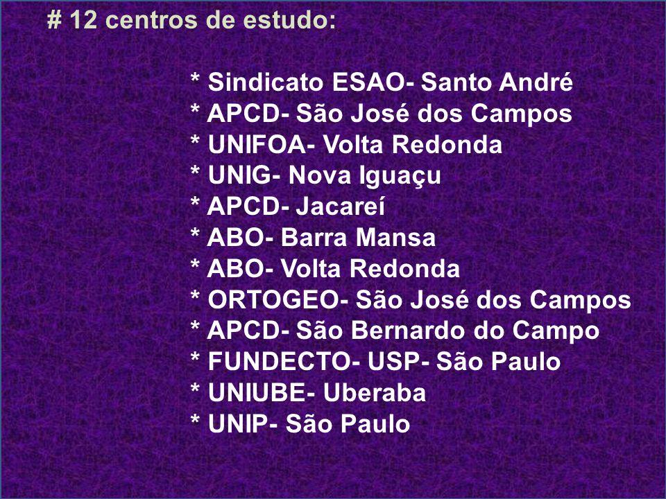 # 12 centros de estudo: * Sindicato ESAO- Santo André. * APCD- São José dos Campos. * UNIFOA- Volta Redonda.
