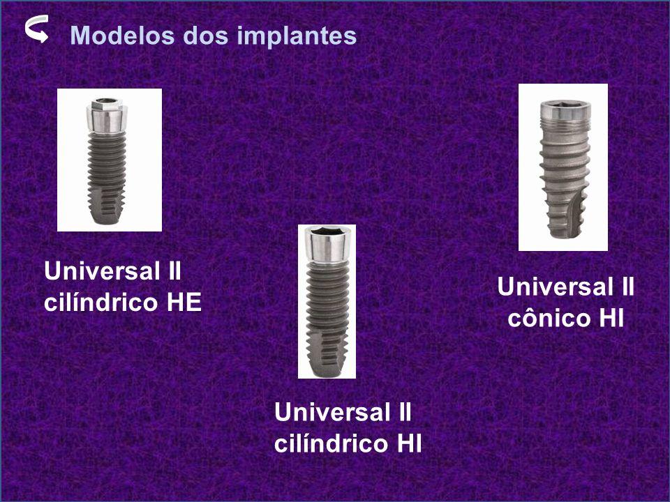 Modelos dos implantes Universal II cilíndrico HE Universal II cônico HI Universal II cilíndrico HI