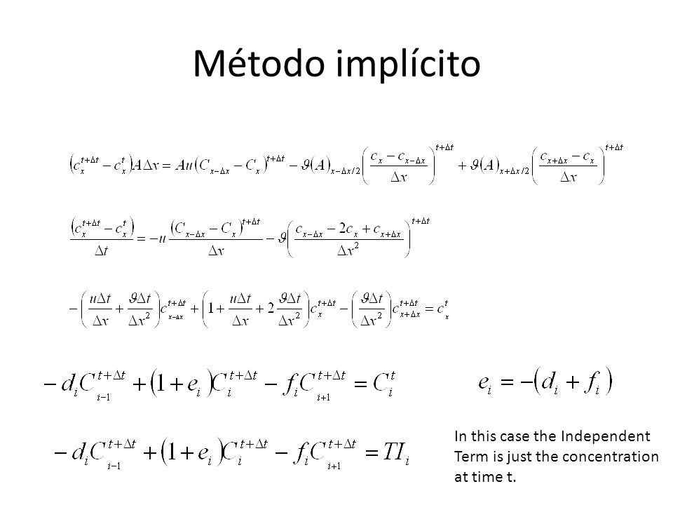 Método implícito In this case the Independent Term is just the concentration at time t.