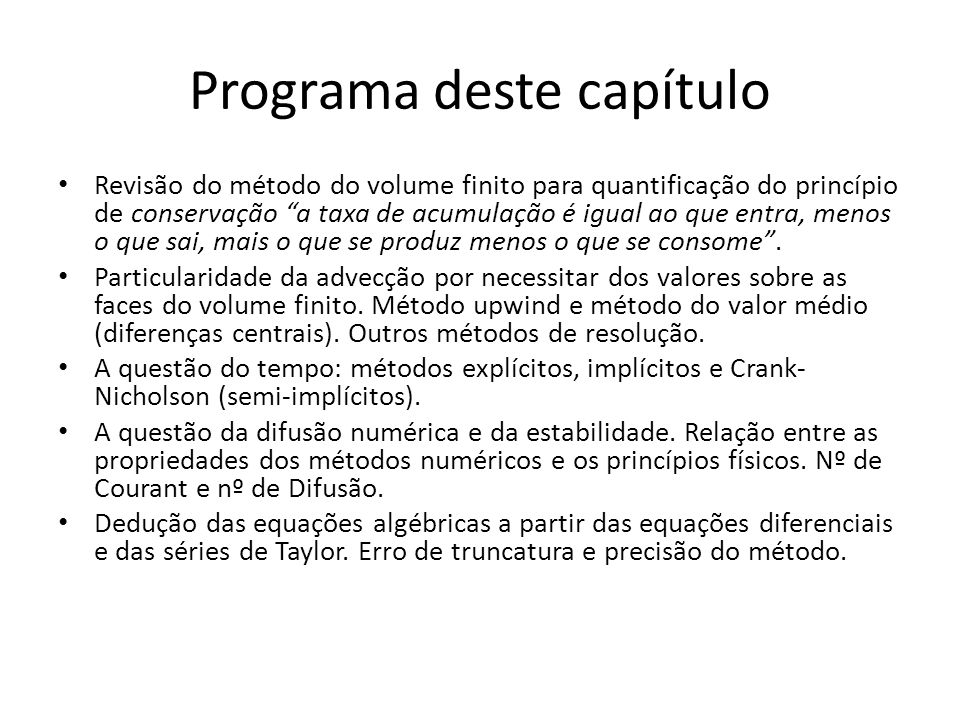 Programa deste capítulo
