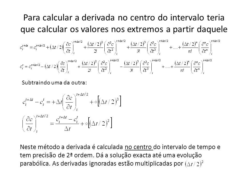 Para calcular a derivada no centro do intervalo teria que calcular os valores nos extremos a partir daquele