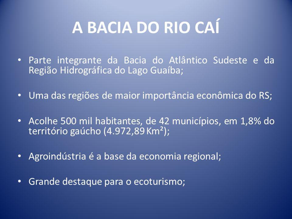 A BACIA DO RIO CAÍ Parte integrante da Bacia do Atlântico Sudeste e da Região Hidrográfica do Lago Guaíba;