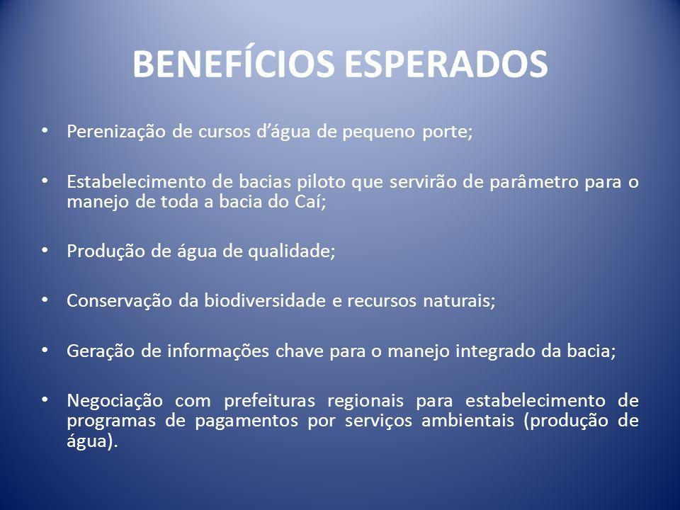 BENEFÍCIOS ESPERADOS Perenização de cursos d'água de pequeno porte;