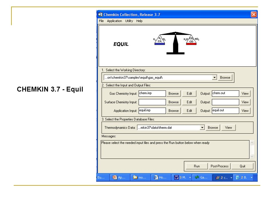 CHEMKIN 3.7 - Equil