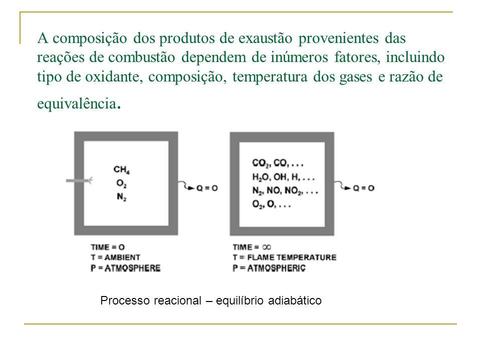 A composição dos produtos de exaustão provenientes das reações de combustão dependem de inúmeros fatores, incluindo tipo de oxidante, composição, temperatura dos gases e razão de equivalência.