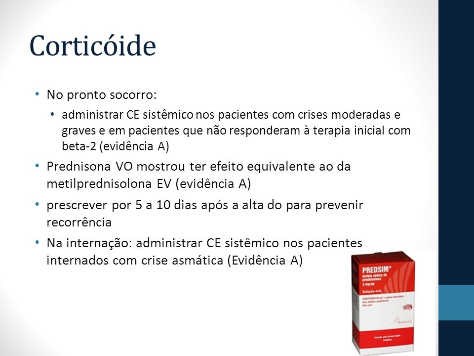 Corticóide No pronto socorro: