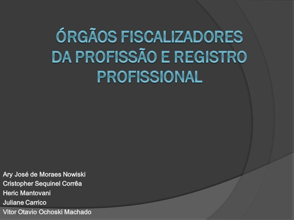 Órgãos fiscalizadores da Profissão e registro profissional