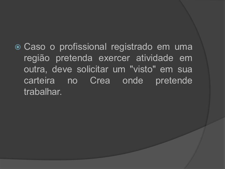 Caso o profissional registrado em uma região pretenda exercer atividade em outra, deve solicitar um visto em sua carteira no Crea onde pretende trabalhar.