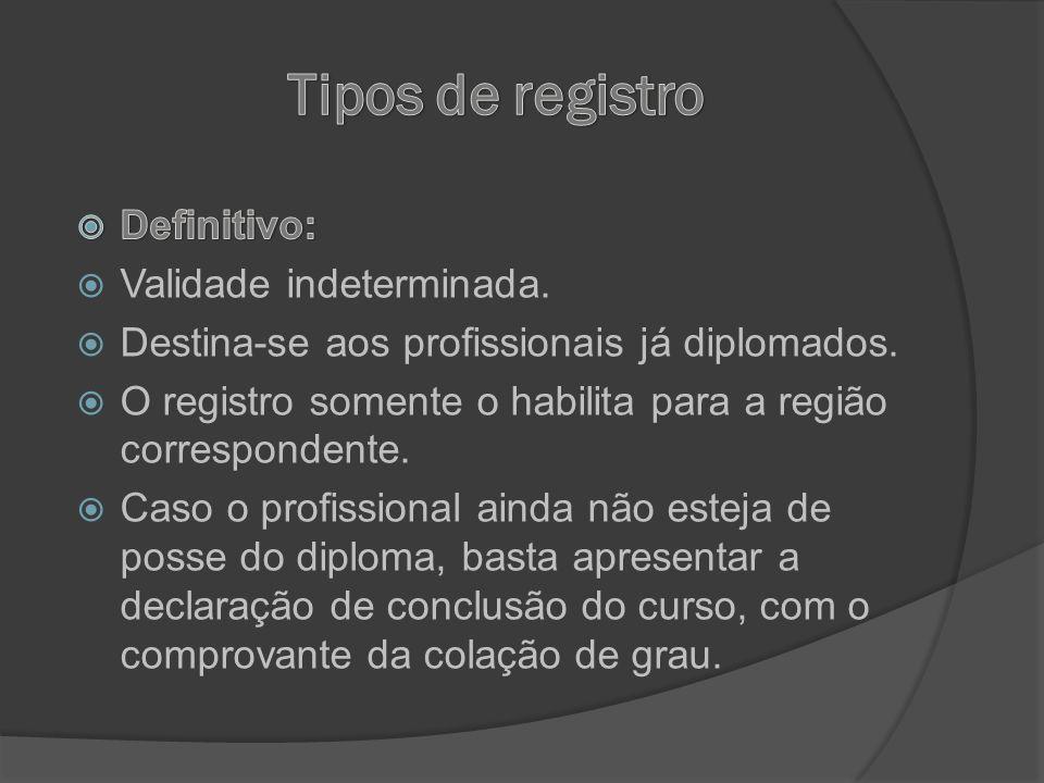 Tipos de registro Definitivo: Validade indeterminada.