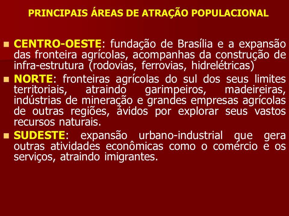 PRINCIPAIS ÁREAS DE ATRAÇÃO POPULACIONAL