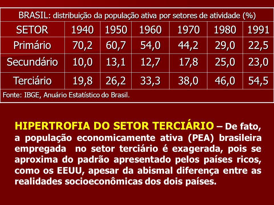 BRASIL: distribuição da população ativa por setores de atividade (%)
