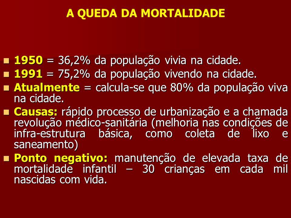 A QUEDA DA MORTALIDADE 1950 = 36,2% da população vivia na cidade. 1991 = 75,2% da população vivendo na cidade.