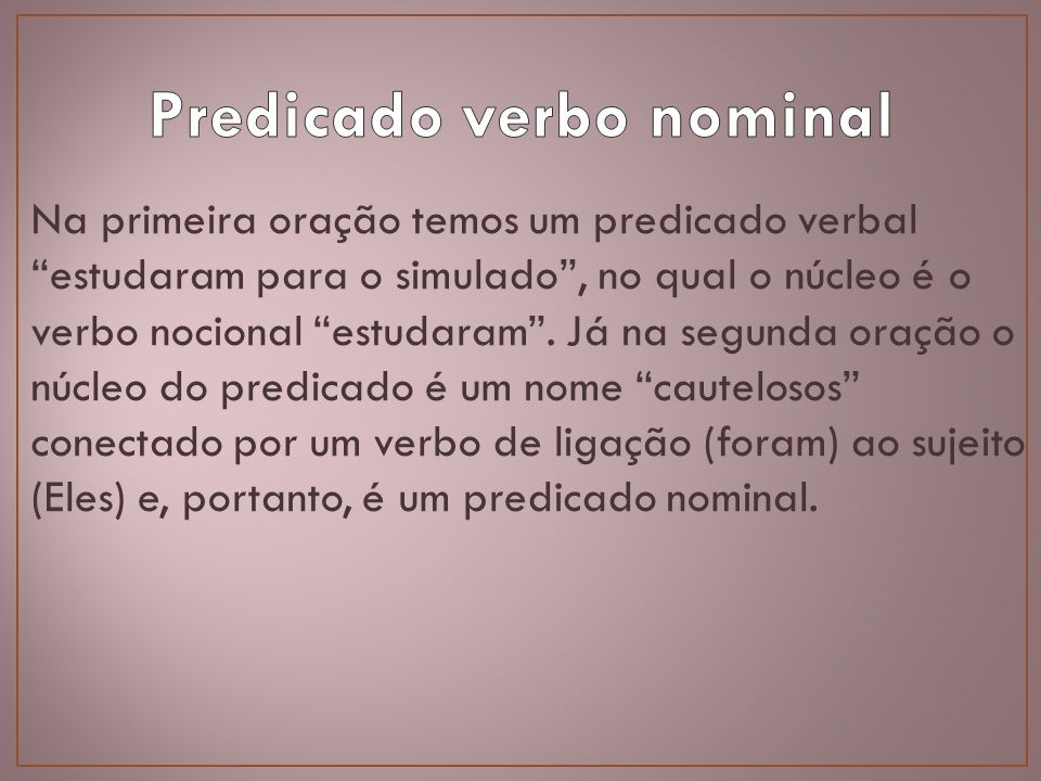Predicado verbo nominal