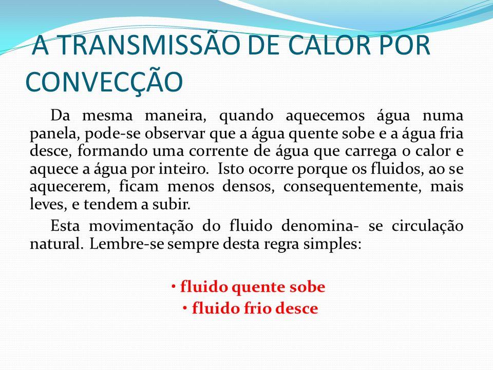 A TRANSMISSÃO DE CALOR POR CONVECÇÃO