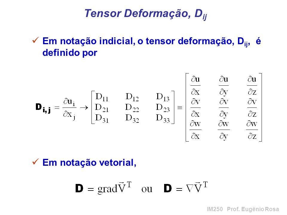 Tensor Deformação, Dij Em notação indicial, o tensor deformação, Dij, é definido por.