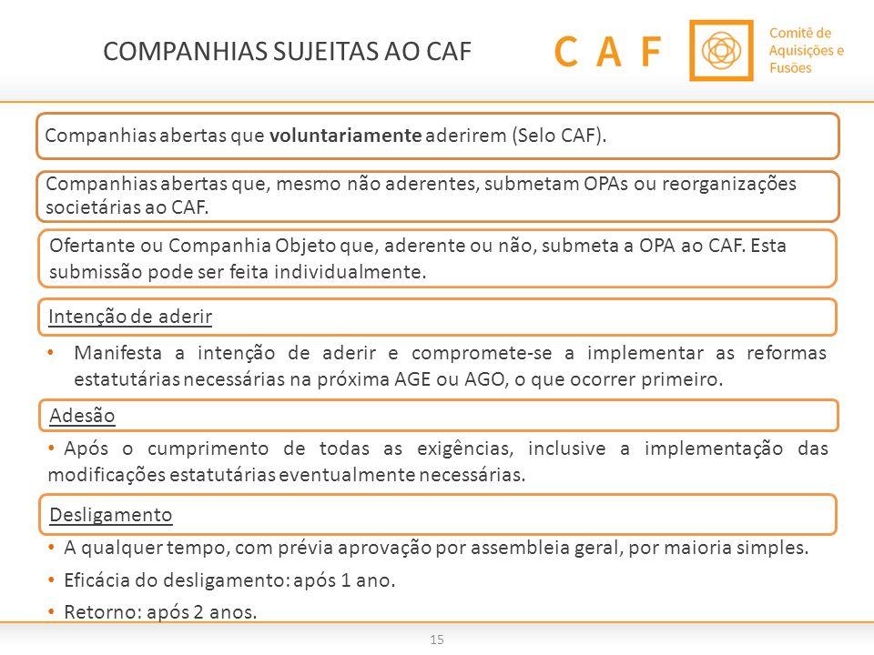 COMPANHIAS SUJEITAS AO CAF