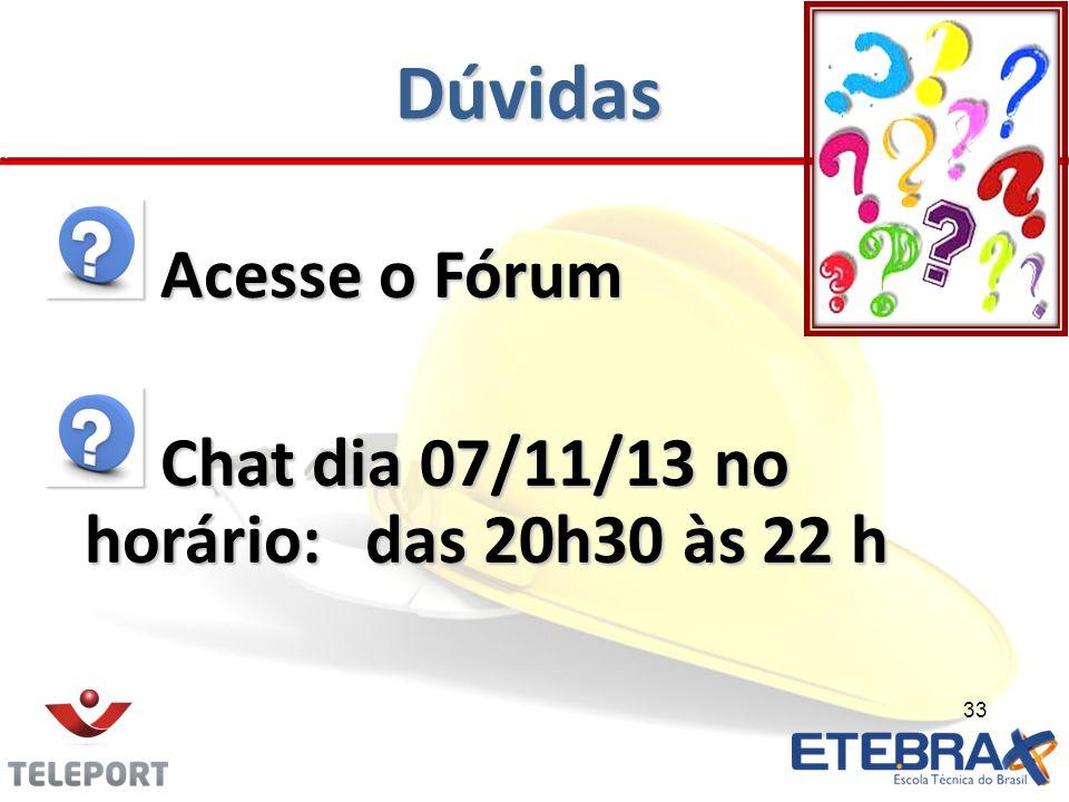 Dúvidas Acesse o Fórum Chat dia 07/11/13 no horário: das 20h30 às 22 h