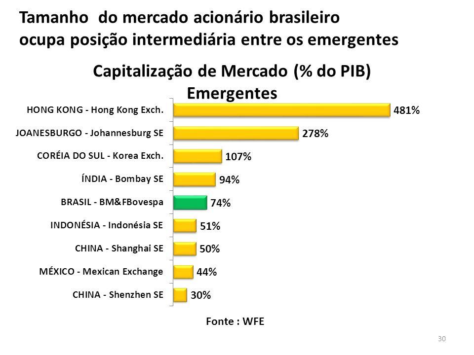 Tamanho do mercado acionário brasileiro