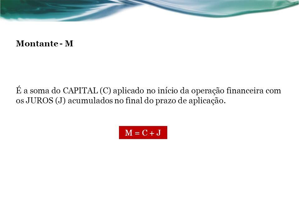 Montante - M É a soma do CAPITAL (C) aplicado no início da operação financeira com os JUROS (J) acumulados no final do prazo de aplicação.