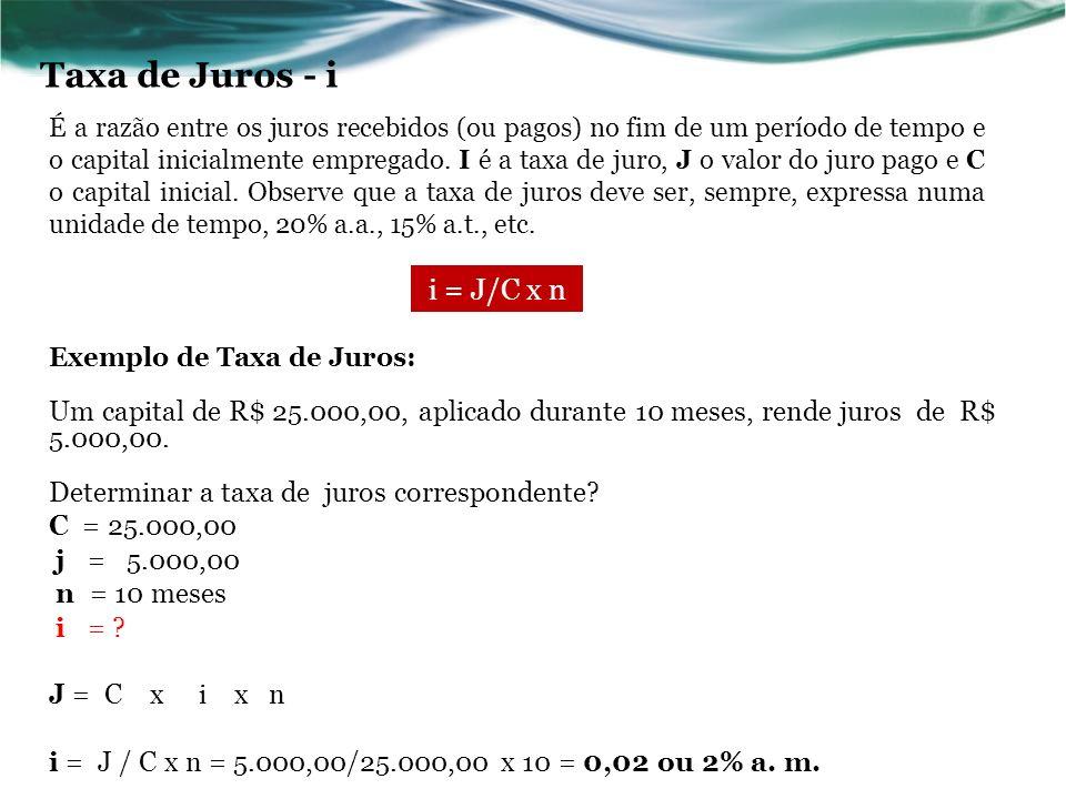 Taxa de Juros - i i = J/C x n
