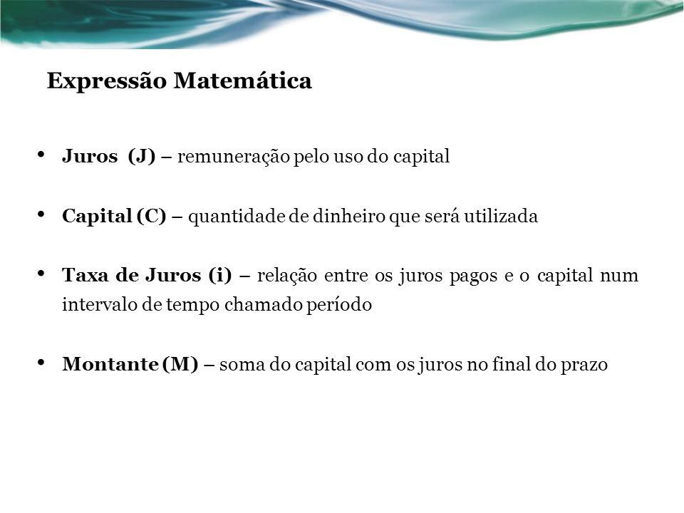 Expressão Matemática Juros (J) – remuneração pelo uso do capital
