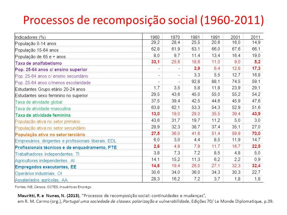 Processos de recomposição social (1960-2011)