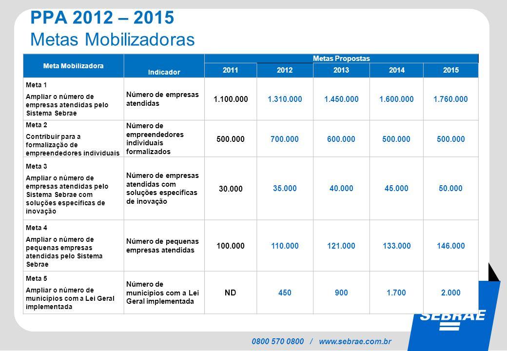 PPA 2012 – 2015 Metas Mobilizadoras