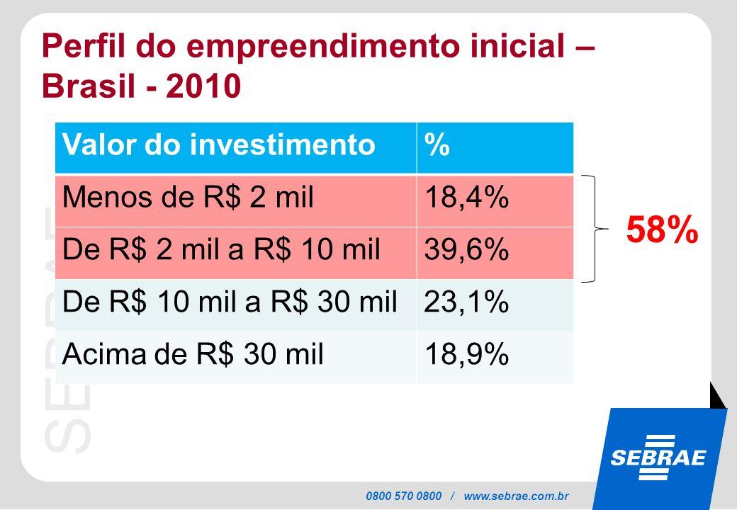 58% Perfil do empreendimento inicial – Brasil - 2010