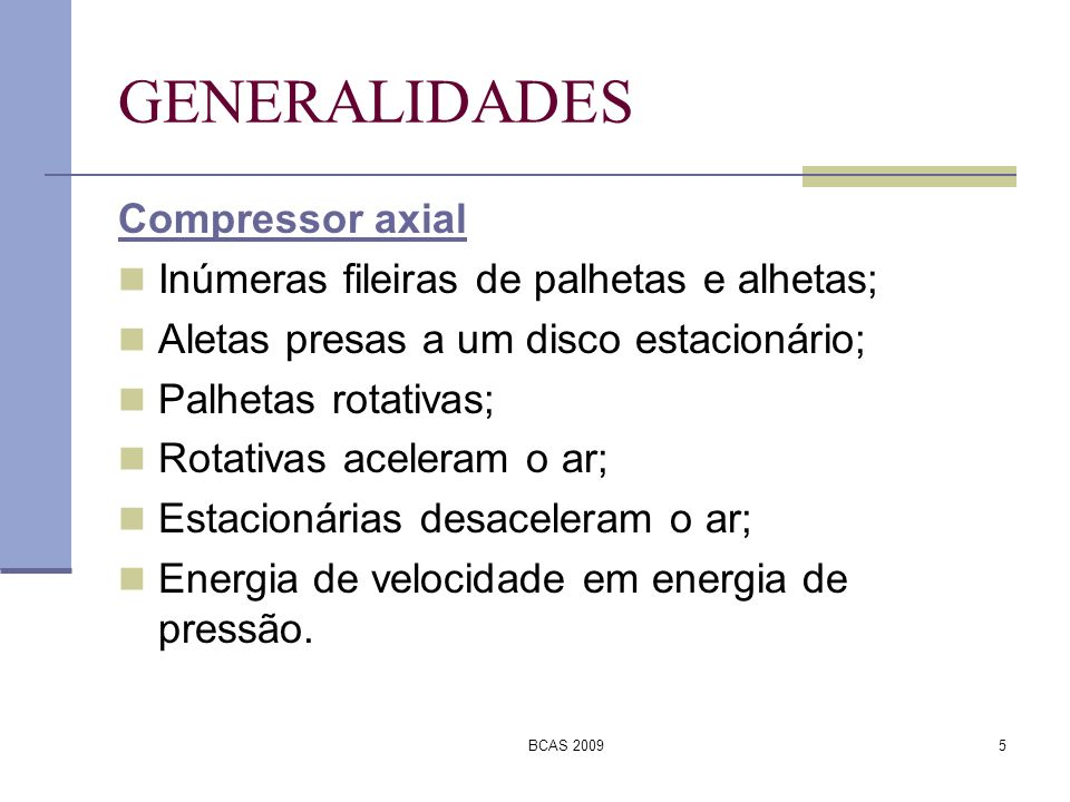 GENERALIDADES Compressor axial