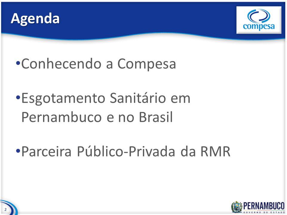 Agenda Conhecendo a Compesa. Esgotamento Sanitário em Pernambuco e no Brasil.