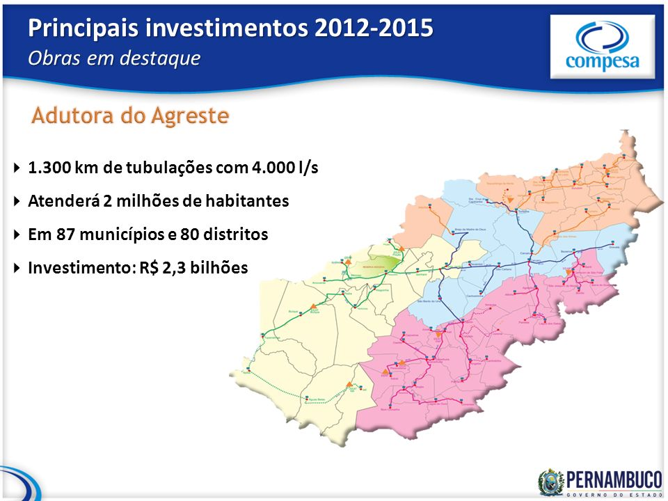 Principais investimentos 2012-2015 Obras em destaque