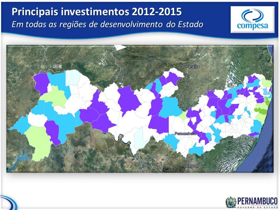 Principais investimentos 2012-2015 Em todas as regiões de desenvolvimento do Estado