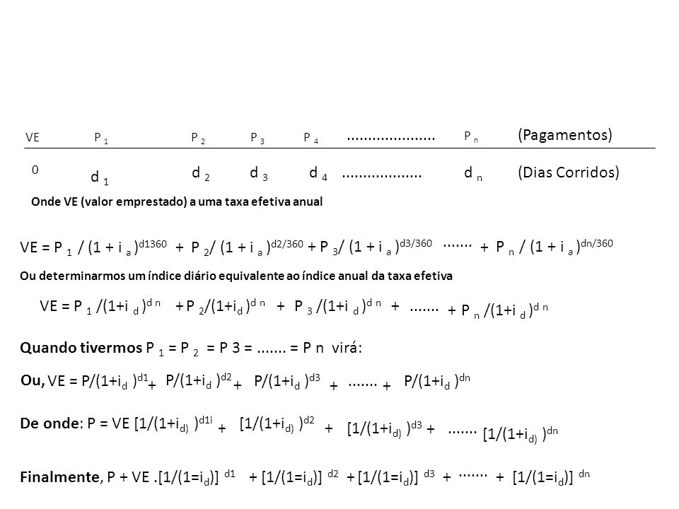 Quando tivermos P 1 = P 2 = P 3 = ....... = P n virá: