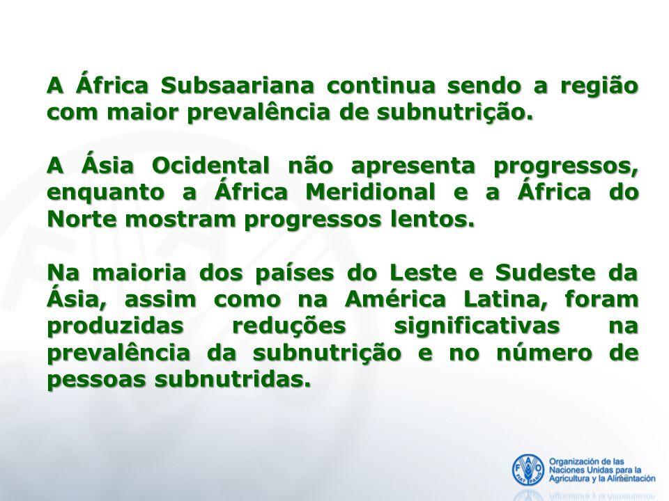 A África Subsaariana continua sendo a região com maior prevalência de subnutrição.