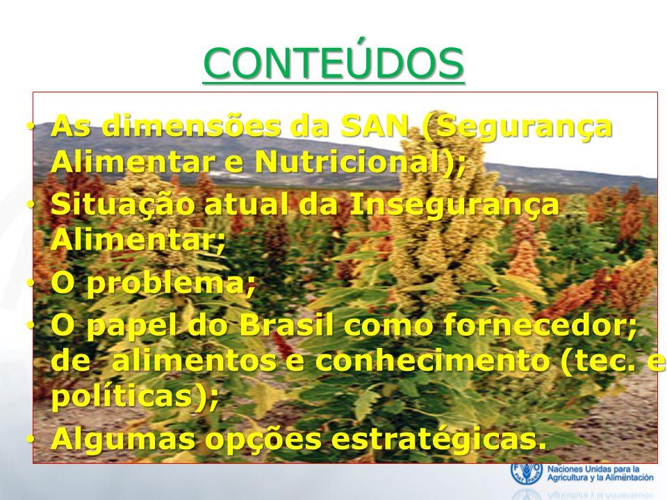 CONTEÚDOS As dimensões da SAN (Segurança Alimentar e Nutricional);