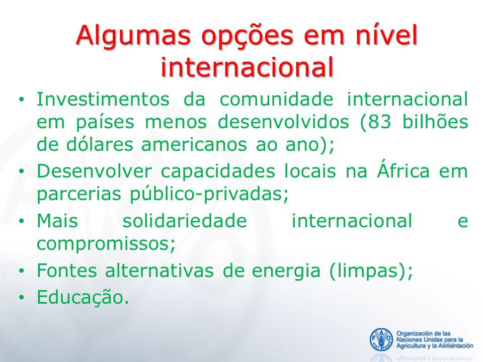 Algumas opções em nível internacional