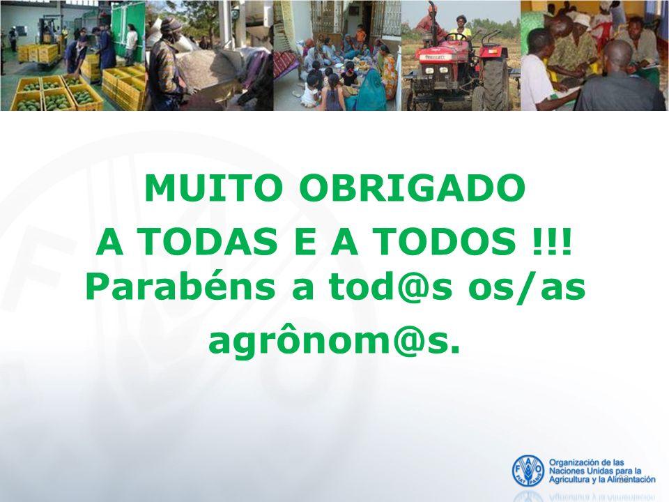 MUITO OBRIGADO A TODAS E A TODOS !!! Parabéns a tod@s os/as agrônom@s.
