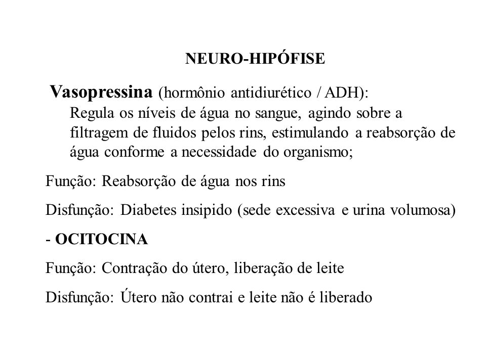 NEURO-HIPÓFISE Vasopressina (hormônio antidiurético / ADH):